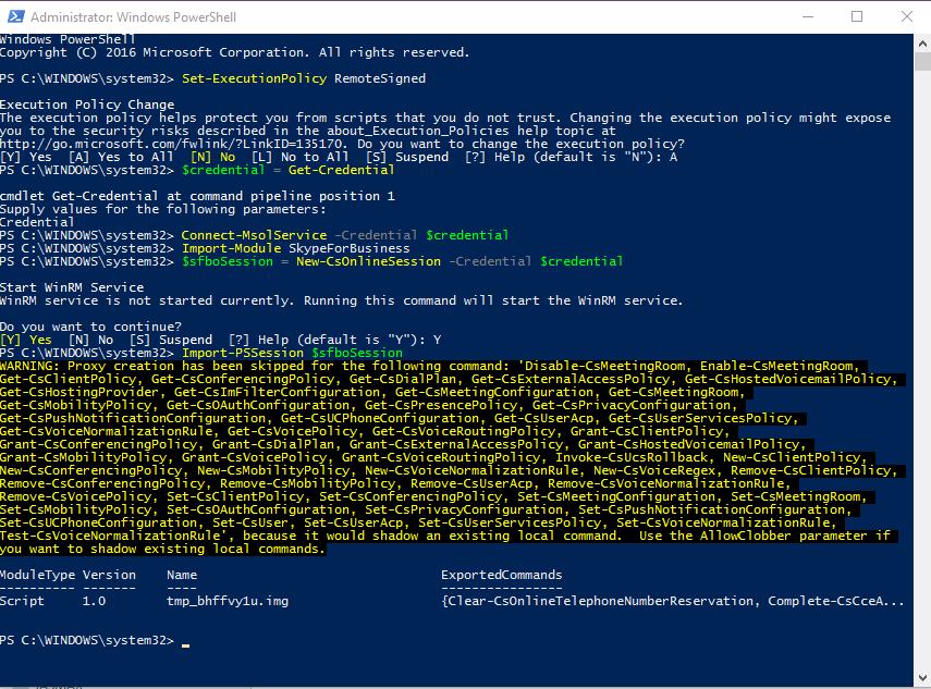 Remote PowerShell login Office 365 all modules