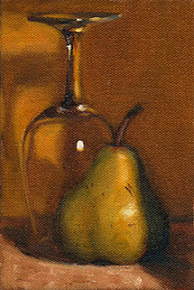 Oil painting of a green pear beside an upside-down ISO tasting glass.