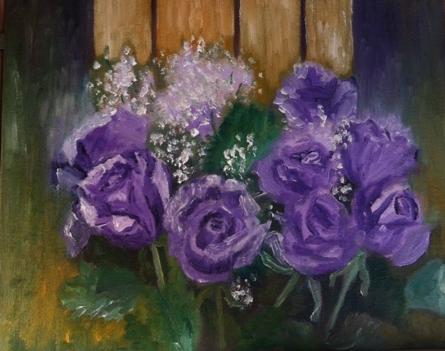"""Purple Paint Colors >> Oil Paintings by Virginia Artist, Barbara S. Ryan: """"Purple Roses"""" 8"""" x 10"""" Oil Painting"""