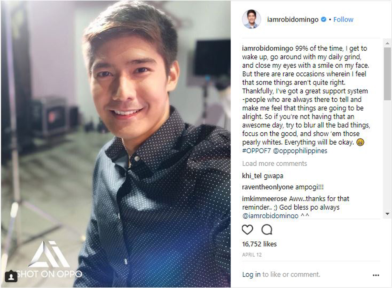 Look Inspiring Celebrities Open Up About Online Bashing Daia Softergent Violet Tv Personality Robi Domingo Takes On A More General Stance Overall Positivity With His Uplifting Message Conquering Each Dayincluding