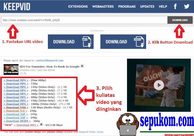 Pastekan url video ke kolom lalu tekan enter atau klik button download Kemudian pilihlah kualitas video