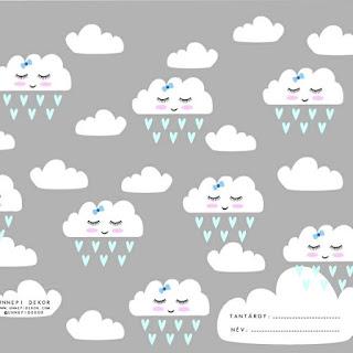 Vissza a suliba füzetborító sablon - Felhős füzetborító