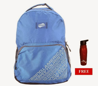 American Tourister Blue Backpack worth Rs.1000 for Rs.650 Only with Free Sipper at HomeShop18