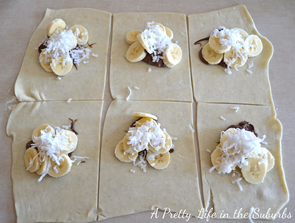 Nutella Banana Coconut Hot Pockets