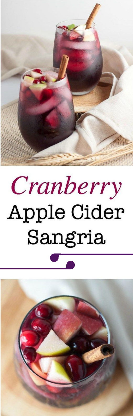 CRANBERRY APPLE CIDER SANGRIA #sangria #drink