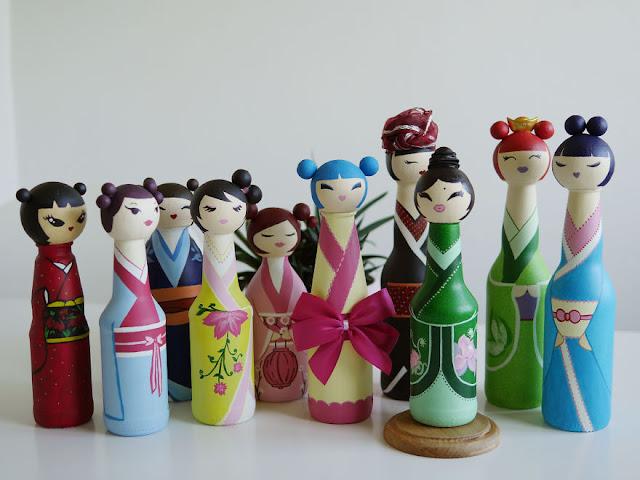 Bokeshi dolls : bottle Japanese dolls