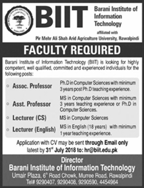 Jobs In Barani Institute Of Information Technology 24 July