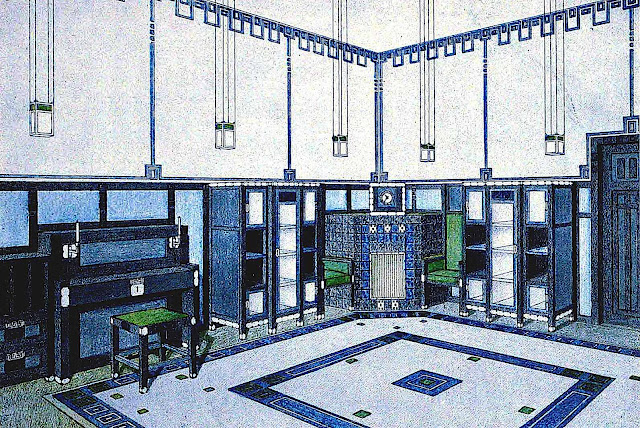 a 1904 K. Boschen interior, blue with green highlights illustration