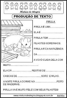 Produção de texto lacunado alfabetização