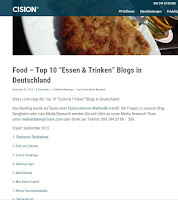 "Food – Top 10 ""Essen & Trinken"" Blogs in Deutschland;"