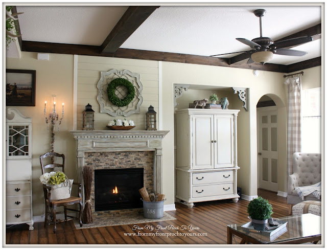 French Farmhouse living Room-Wood Beams-From MY Front Porch To Yours