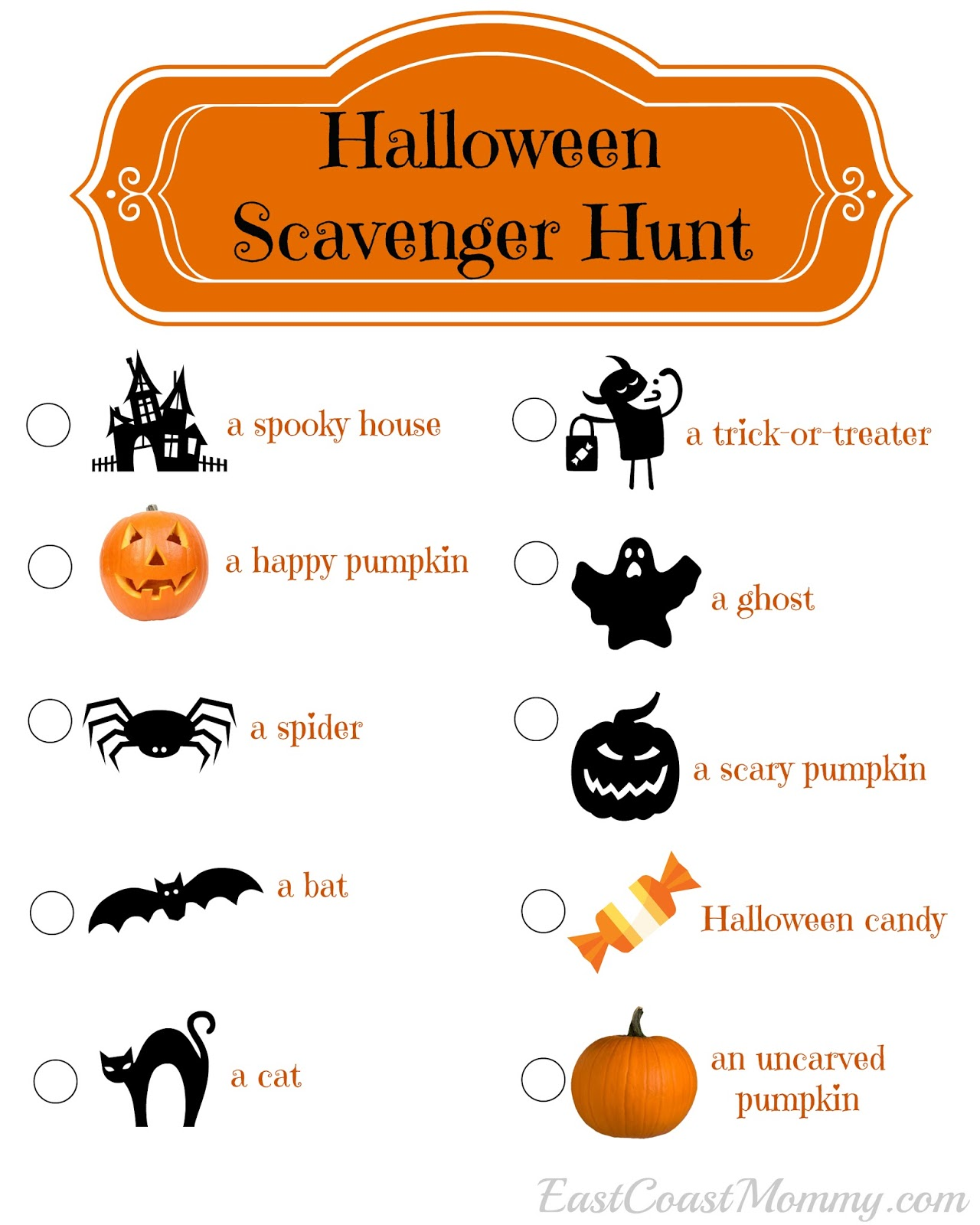East Coast Mommy: Halloween Scavenger Hunt (with free printable)