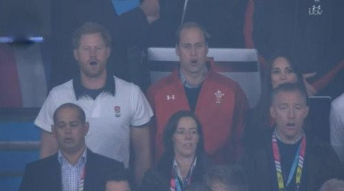 Catherine, Duchess of Cambridge and Prince William and Prince Harry attends a Pool A match of the 2015 Rugby World Cup