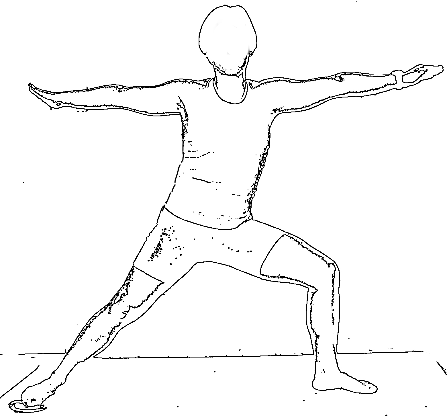 It is a photo of Crazy Warrior Pose Drawing