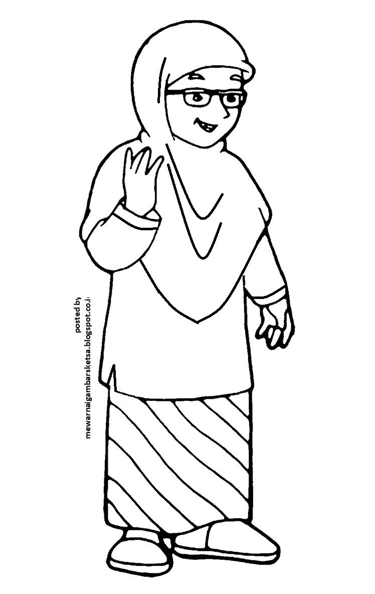 mewarnai gambar sketsa anak muslimah 16