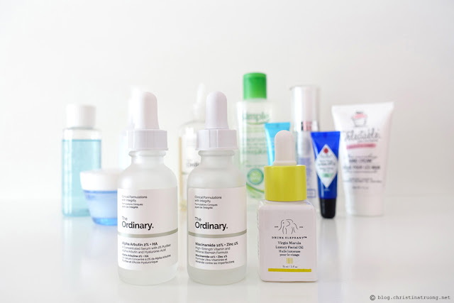 Updated Nightly Skin Care Routine Review featuring Serums The Ordinary Alpha Arbutin 2% + HA The Ordinary Niacinamide 10% + Zinc 1% Drunk Elephant Virgin Marula Luxury Facial Oil