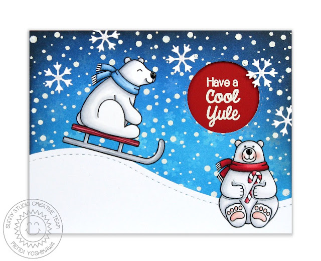 Sunny Studio Stamps Playful Polar Cool Yule Sledding Christmas Card by Mendi Yoshikawa