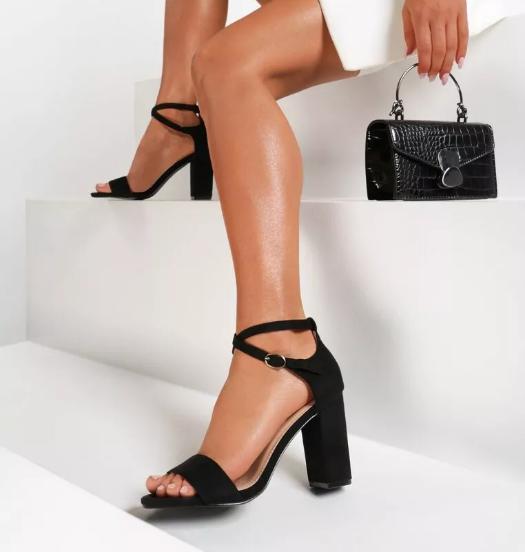 Sandale negre cu toc gros elegante de zi din piele eco intoarsa fashion