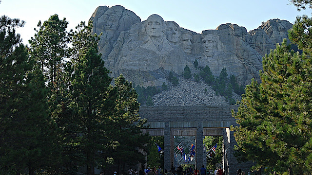 The visages of four Presidents carved into Mt Rushmore...