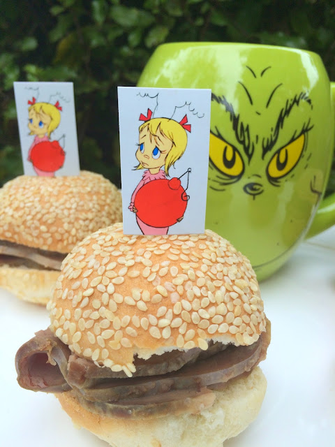 Family Christmas Movie Night with Grinch Themed Dinner - Roast Beast Sandwiches | www.jacolynmurphy.com