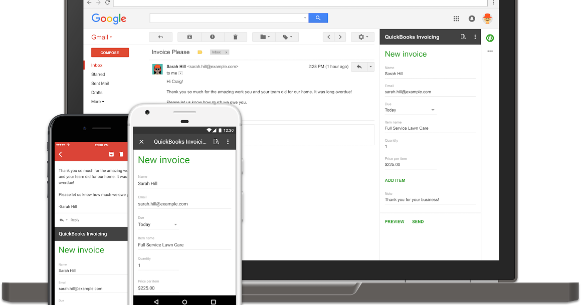 G Suite Developers Blog Bring The Power Of Your Apps Into Gmail - Quickbooks invoicing for gmail