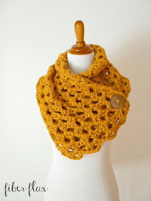 Free Knitting Patterns Cowls With Buttons : Fiber Flux: Free Crochet Pattern...Autumn Morning Button Cowl!