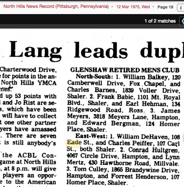 1975 newspaper mention of William DeHaven 108 Eade Avenue Gle