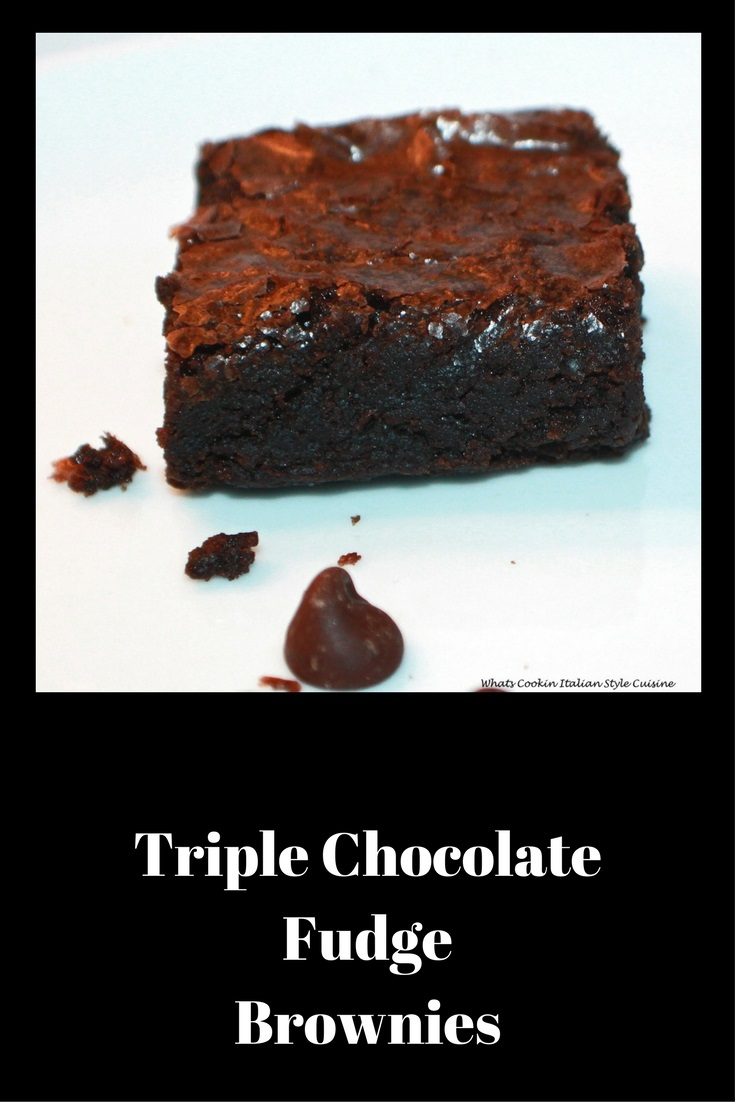 these are a decadent  Triple #chocolate #brownie for chocolate lovers Whats Cookin Italian Style Cuisine #brownies #chocolate #bar #cookie #recipe