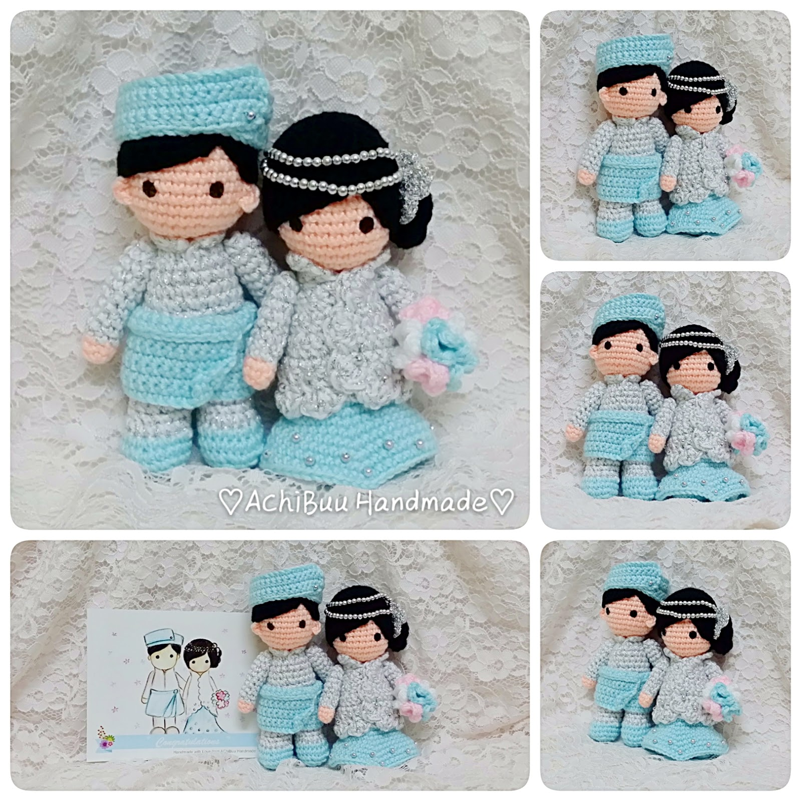 AChiBuu Handmade: Malay Wedding Couple with silver & pastel blue theme