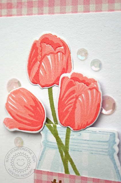 Sunny Studio Stamps: Timeless Tulips And Vintage Jar Thank You Card by Vanessa Menhorn