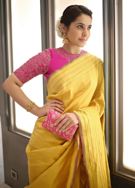 Raashi Khanna in Traditional Yellow Silk Saree