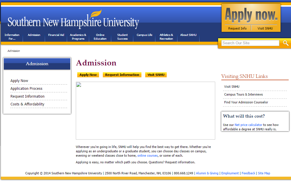 Southern New Hampshire University Campus Map.The Snhu Website Update Homepage And Admissions U Of Admissions