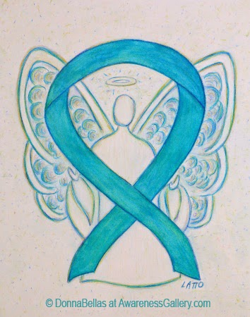 Turquoise Ribbon Awareness Angel Image Picture