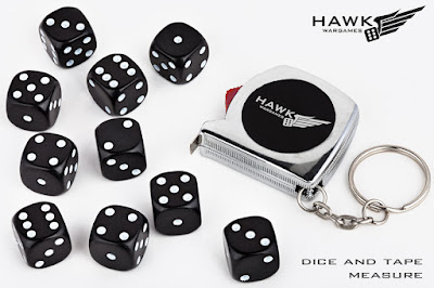"10x 14mm D6 black dice and 1m/38"" Hawk Wargames tape measure keyring"