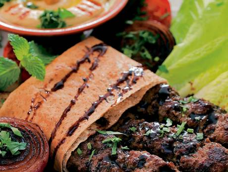 Serve this spicy Middle Eastern beef kofta with grilled vegetables Hand-rolled kofta recipe