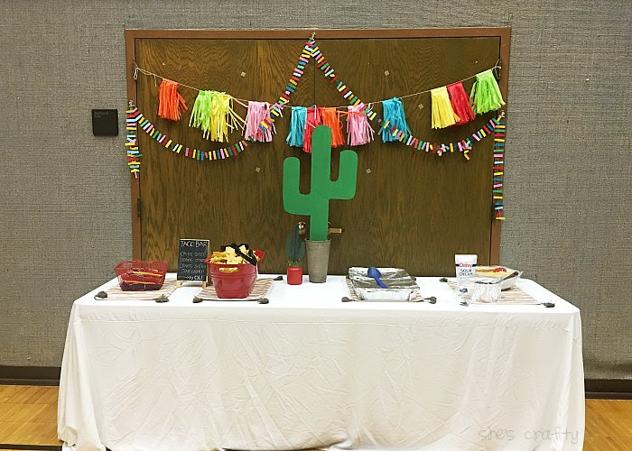Taco Bar Relief Society Party Idea - Taco 'Bout Fun meet and greet party - taco bar food table and decor