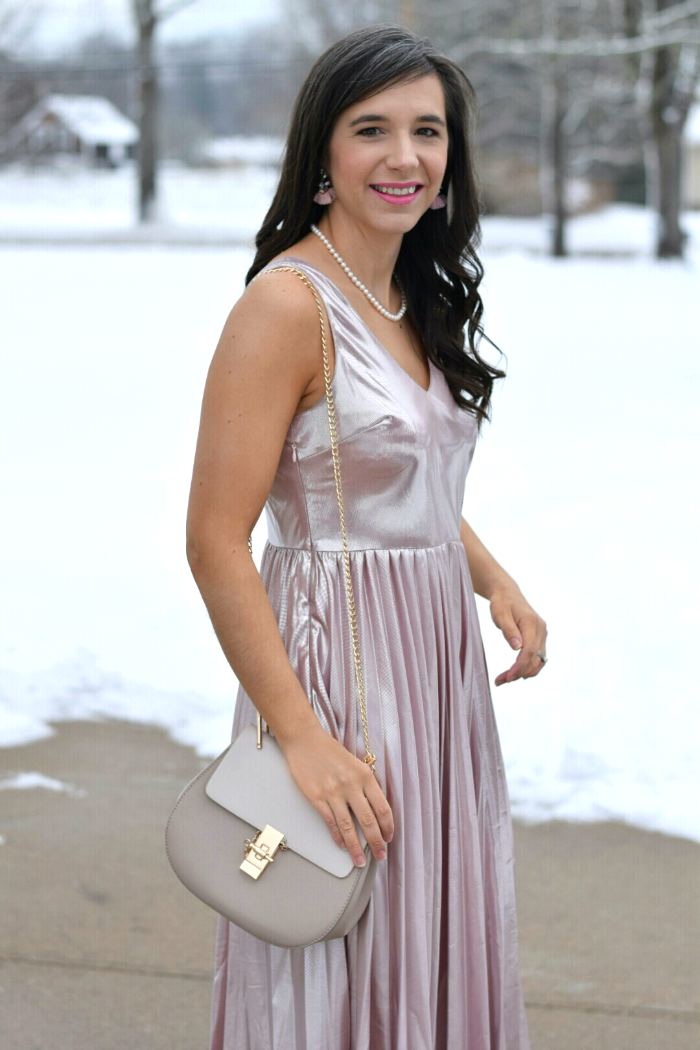 Pleated Rose Gold Metallic Dress for Valentine's Day