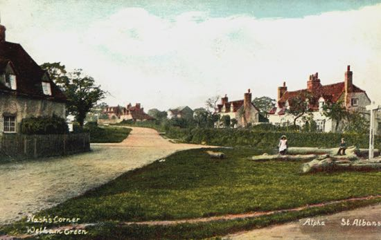 Photograph of Nash's Corner, Welham Green in the 1900s  Image from G Knott, part of the Images of North Mymms collection