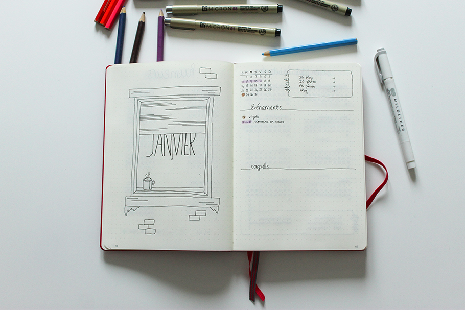 bullet journal janvier bujo monthly spread 2019