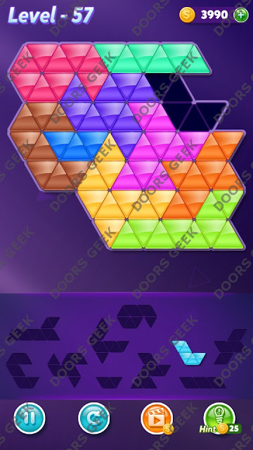 Block! Triangle Puzzle 10 Mania Level 57 Solution, Cheats, Walkthrough for Android, iPhone, iPad and iPod