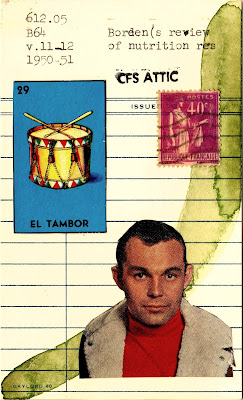 color portrait man in bomber jacket loteria el tambor drum french postage stamp library card Dada Fluxus Mail art collage