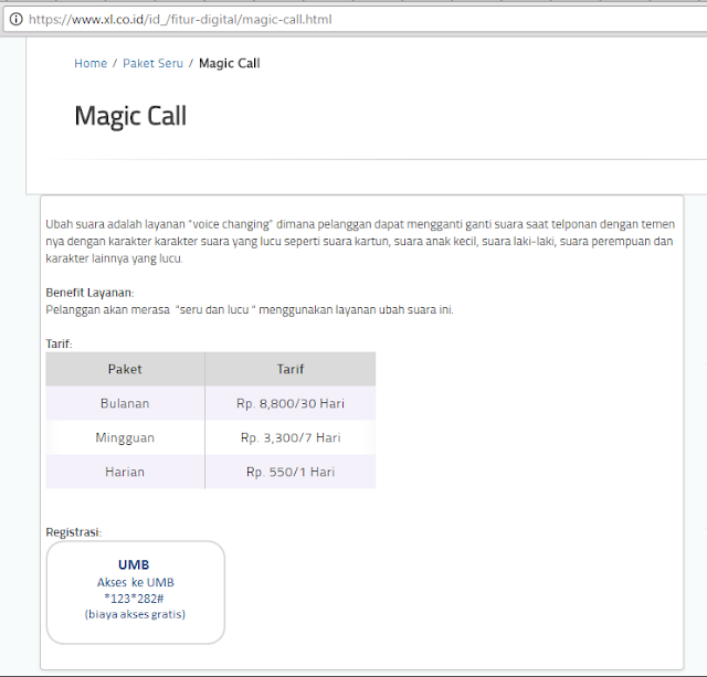 No telepon +62282, layanan Magic Call dari XL