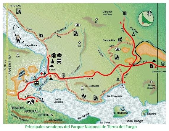 Mapa senderos Parque Nacional Tierra del Fuego