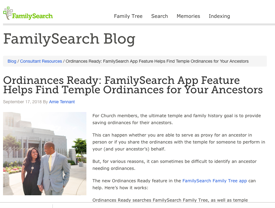 Rejoice, and be exceeding glad   : New FamilySearch Ordinances Ready