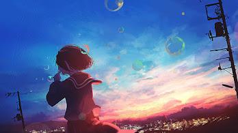 Anime, Scenery, Girl, Sunset, Bubbles, 4K, #276