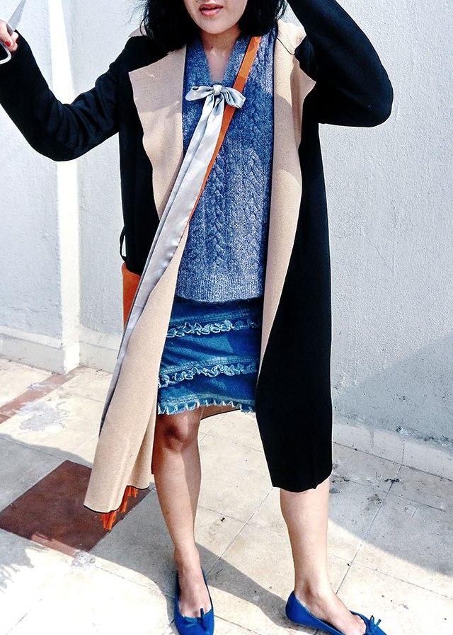 denim fringe skirt, blue bow ballet flats,indian style blogger