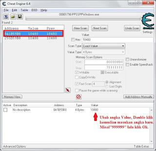 Cara 1 Ngecheat diEmulator PPSSPP: Menggunakan Aplikasi Cheat Engine.