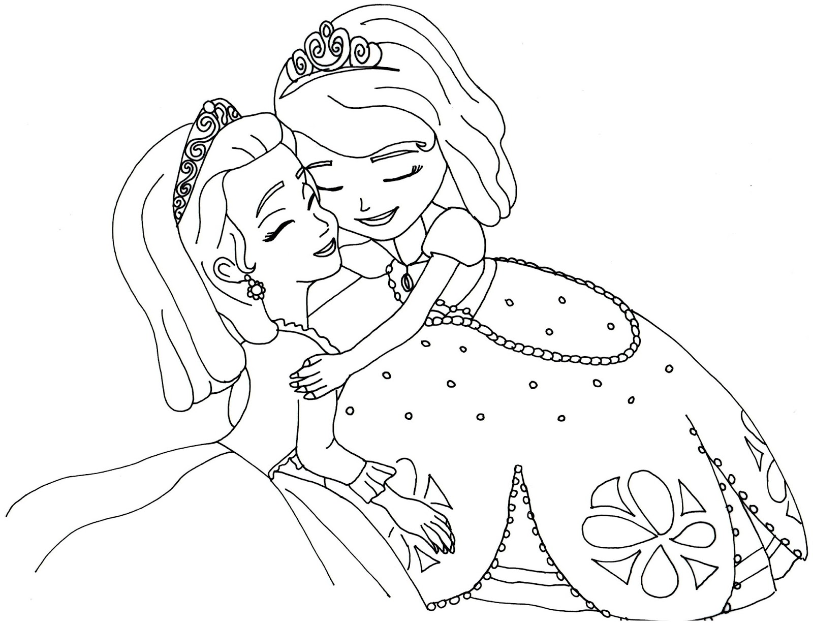 Sofia the first coloring pages sofia and amber hugged for Sofia the princess coloring pages
