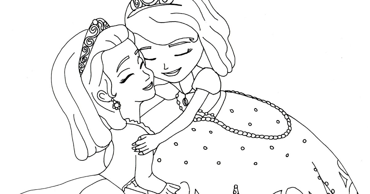 Sofia the first coloring pages sofia and amber hugged for Sofia printable coloring pages
