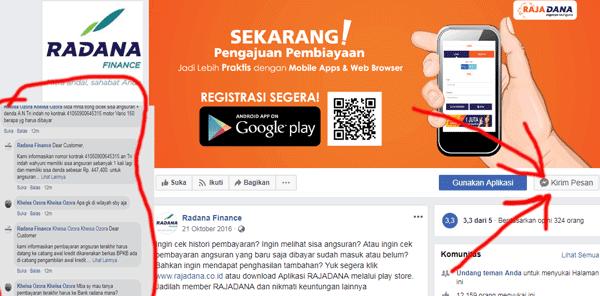 menanyakan sisa angsuran radana di facebook